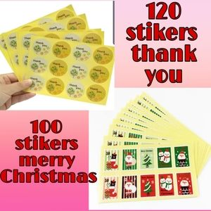 220 stikers thankyou and merry Christmas set